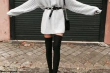 With black suede over the knee boots and mini bag