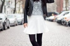 With floral shirt, black leather jacket, black tights and ankle boots