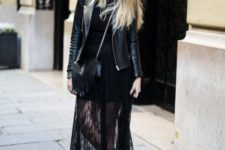 With lace maxi dress, lace up flat boots and black leather jacket