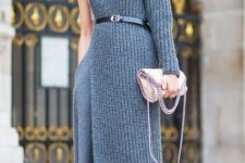 With marsala ankle boots and pale pink chain strap bag