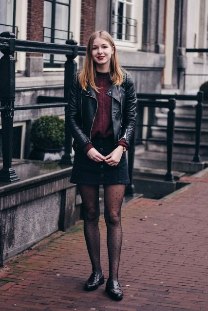 With marsala sweater, black mini skirt, black leather jacket and flat shoes