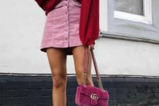 With pale pink mini skirt, hot pink velvet chain strap bag and white ankle boots