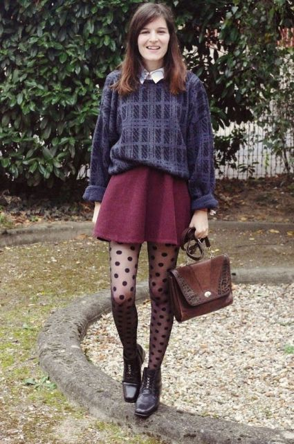 With printed loose sweater, lace up boots, marsala skirt and brown bag