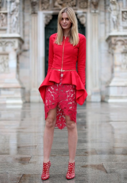 With red lace skirt and red high heeled boots
