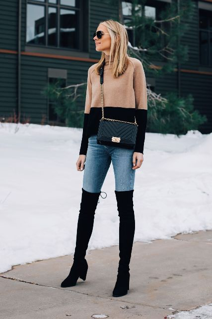 knee boots and chain strap bag