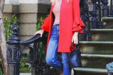 With striped shirt, ankle strap shoes, black leather bag and cropped jeans