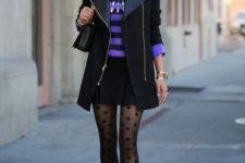 With striped shirt, black long jacket, black mini skirt, bag and golden pumps