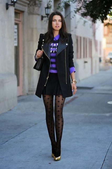 With striped shirt, black long jacket, black mini skirt, bag and golden pumps