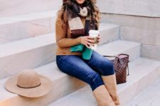 With striped shirt, jeans, wide brim hat, printed tote bag and beige suede high boots