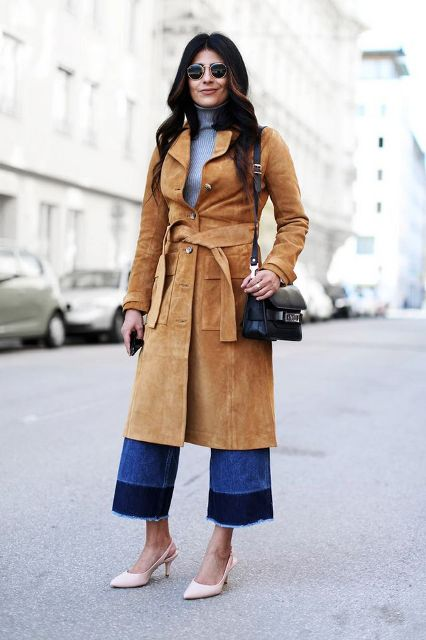 With sweater, black bag, denim culottes and beige shoes