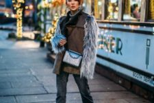 With sweater, patchwork jeans, crossbody bag and black boots