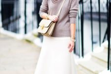 With turtleneck, beige crossbody bag and shoes
