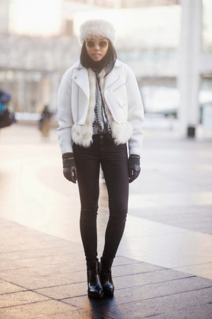 With white cropped jacket, skinny pants and platform ankle boots