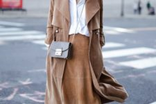 With white loose shirt, suede midi skirt, beige shoes and mini bag