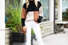 With white skinny pants, beige hat, brown bag and cutout boots