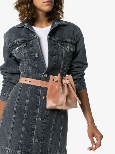 With white t shirt and gray denim shirtdress