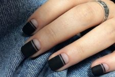 a matte black and nude manicure with stripes is a chic minimalist idea to go for
