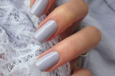 shiny dove grey nails are a timeless and chic idea for winter and for fall if you love light shades