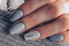 neutral nails art and a stylish glitter accent