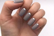 stylish matte grey nails with silver touches are amazing for winter holidays and just for a chic and shiny look