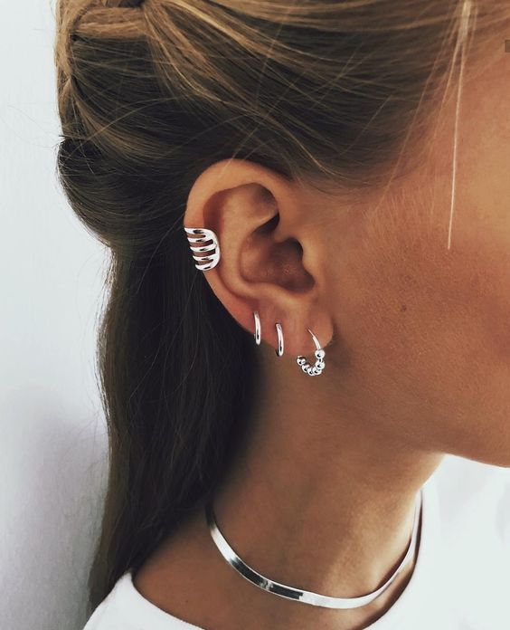 three hoop earrings and a matching cuff for a trendier minimalist look
