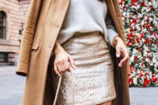 03 a white sweater, a gold shimmer mini skirt, a tan coat and a white bag on chain for a simple outfit