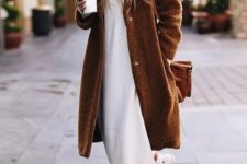 06 a white turtleneck sweater dress, white sneakers, a brown midi teddy coat and a mathcing bag for a casual outfit