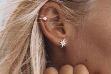 08 a chic star ear cuff and a matching earring and ring for chic and dreamy accessorizing