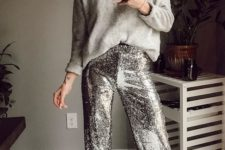 09 a grey oversized cashmere sweater, silver sequin pants and neutral shoes for a minimal chic look