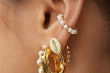 11 a set of catchy seashell and pearl earrings plus a cuff for those who want a super trendy touch