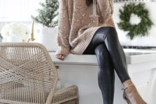 12 a tan embellished sweater, black leather leggings and tan shoes for a chic statement look
