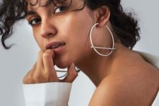 14 minimalist and statement silver hoop earrings with bars will make you look wow