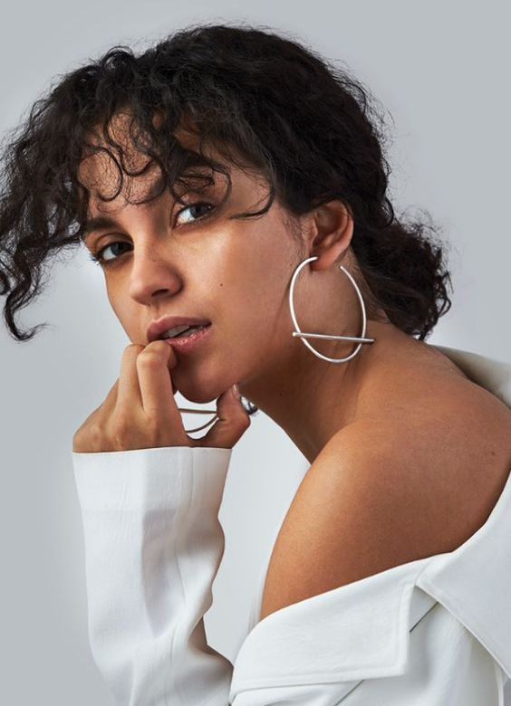 minimalist and statement silver hoop earrings with bars will make you look wow