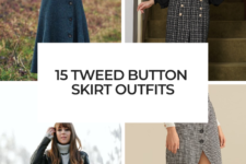 15 Looks With Tweed Button Skirts