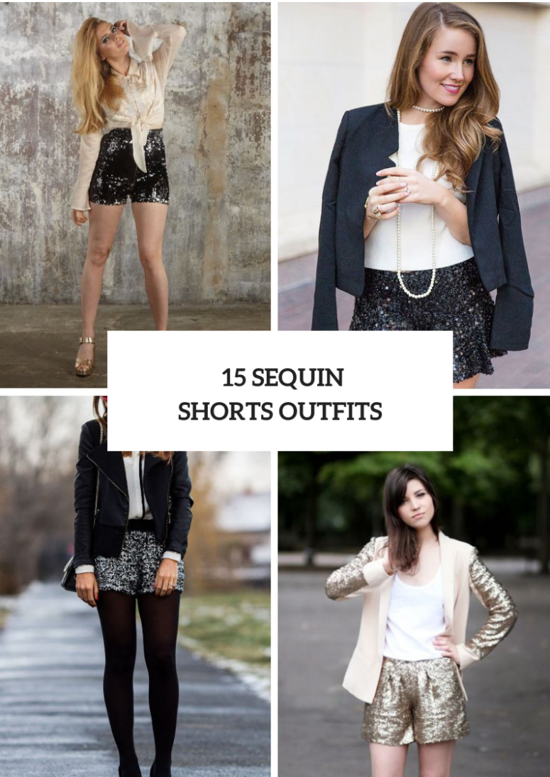 New Year's Eve Party Outfits With Sequin Shorts