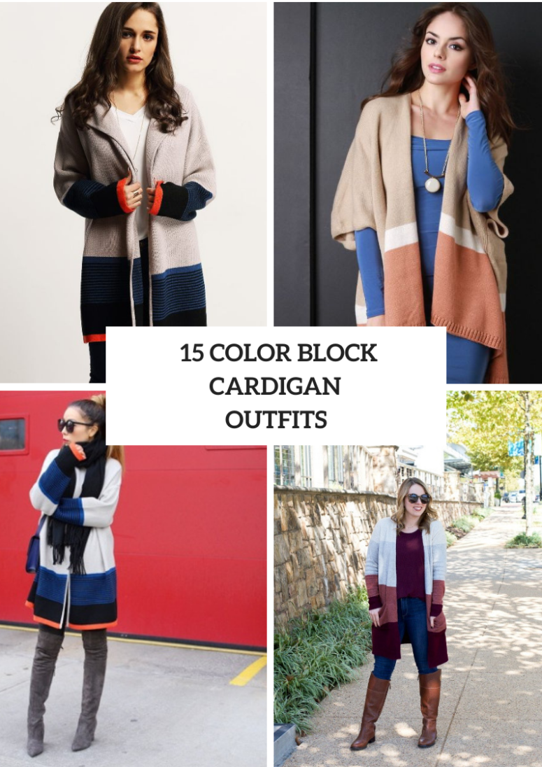Outfits With Color Block Cardigans For Ladies