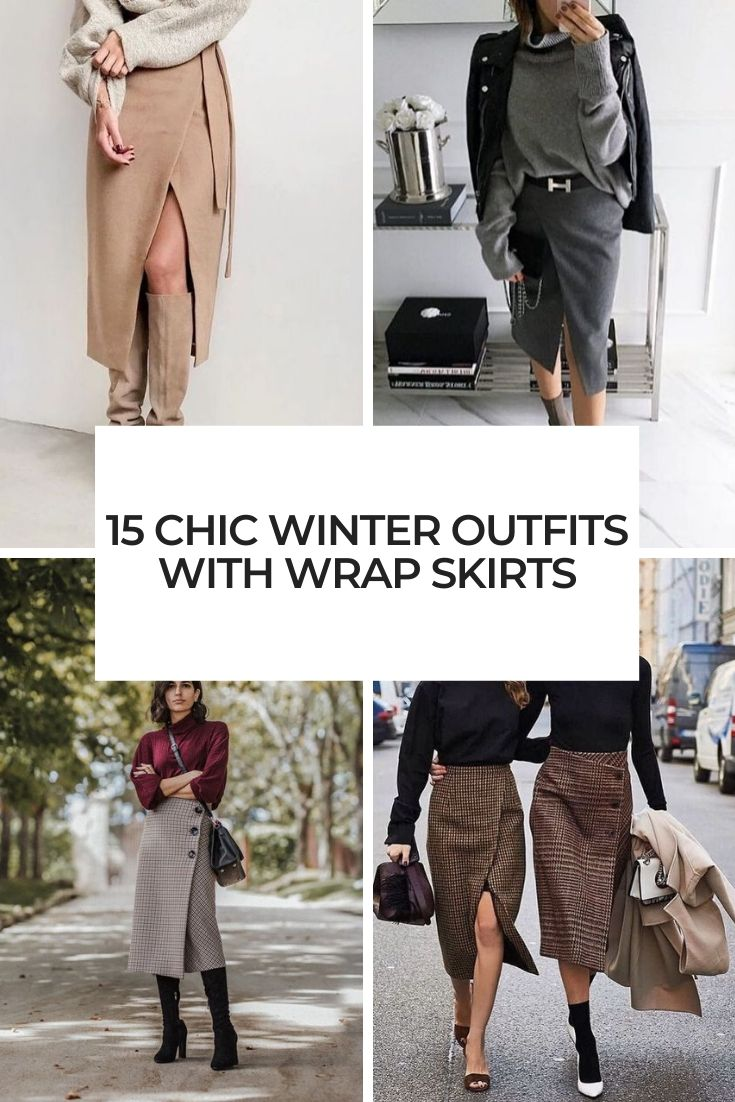 chic winter outfits with wrap skirts cover
