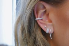 15 diamond earrings and a matching cuff to make the ear even bolder and even more chic