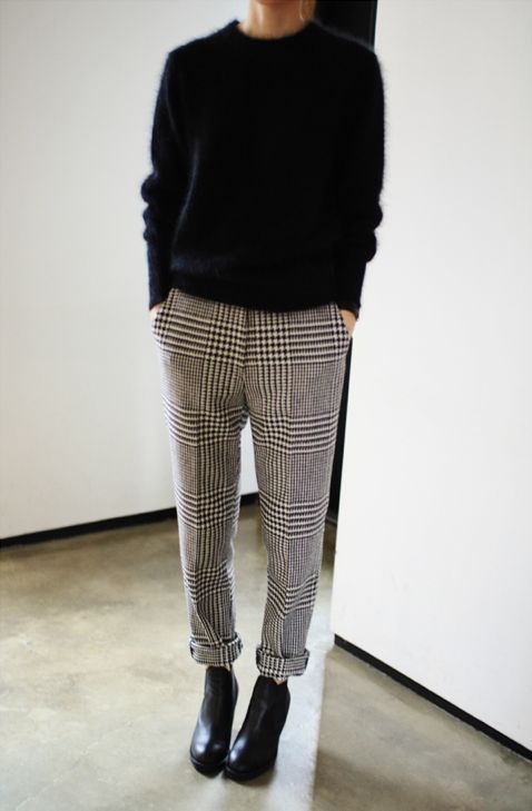 a black angora sweater, plaid rolled up pants and black booties for a casual holiday look
