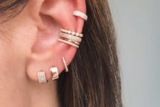 16 four embellished ear cuffs combined  with matching diamond earrings will make your look ultimate