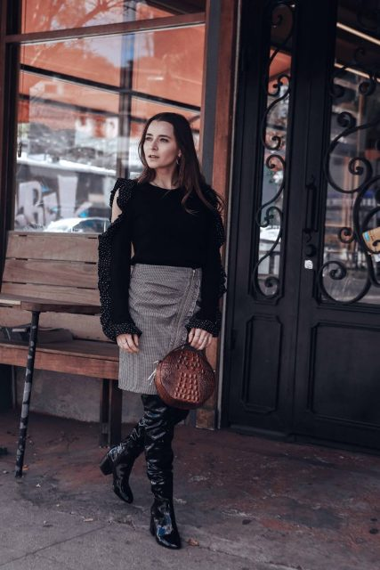 With ruffled off the shoulder sweater, pencil skirt and black patent leather high boots