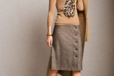 With beige shirt, leopard scarf, beige coat and marsala low heeled shoes