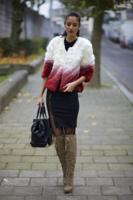 With black dress, black tote bag and ombre fur jacket