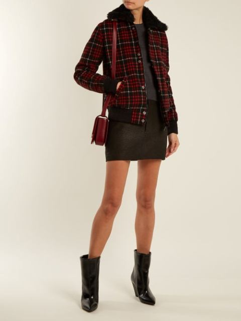 With black mini skirt, marsala bag, patent leather boots and shirt