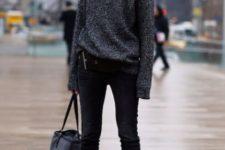 With black skinny pants, tote bag and black pumps