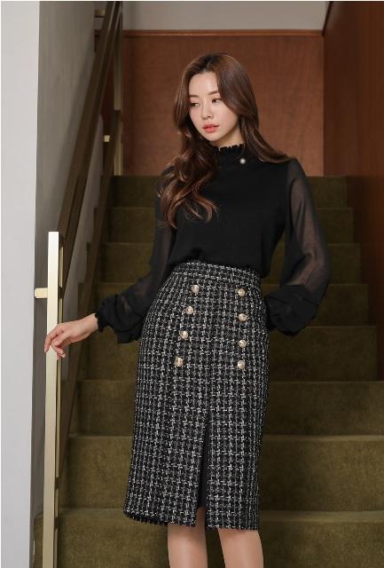 With black transparent blouse
