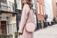 With dress, beret, pale pink coat and gray over the knee boots