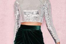 With emerald velvet wrapped high-waisted skirt