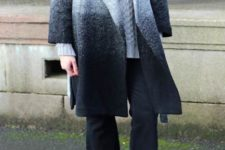 With gray sweater, black culottes and suede ankle boots
