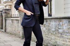 With gray turtleneck, striped blazer and black skinny pants